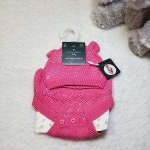 Laura Ashley Infant Cap and Diaper Cover Set NWT